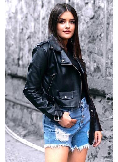 Madmext Mad Girls Kadın Deri Biker Ceket Mg135 Siyah